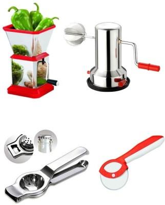 Medex Onion Chopper, Coconut Grater, Lemon Squeezer & Pizza Cutter Multi Color Kitchen Tool Set