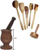 THW Daily Essential Wooden Kitchen Tool Set Including Large Mortar & Pestle Set (Khalbatta),Masher & 5 Pc. Multipurpose Wooden Spoon Set Beige Kitchen