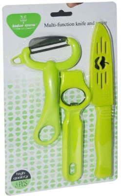 Blossoms Knife,Peeler And Opener Green Kitchen Tool Set