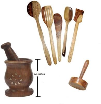 THW Daily Essential Wooden Kitchen Tool Set Including Small Mortar & Pestle Set (Khalbatta),Masher & 5 Pc. Multipurpose Wooden Spoon Set Beige Kitchen Tool Set