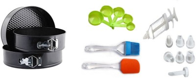THW Bakeware Combo including Decorating Syringe with 8 Nozzles, Non Stick Springform RoundCake Mould (18cm, 20 cm & 22 cm) ,Silicone Pastry Brush, 5 Same color Measuring Cups, Silicone Spatula Multicolor Kitchen Tool Set