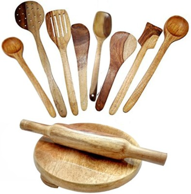 THW Daily Essential Wooden Combo Including Chakla Belan, 5 Pc. Multipurpose Wooden Spoons , 1 Rice Palta & 2 Ladles Beige Kitchen Tool Set