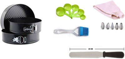 THW Bakeware Combo including 35 cm Icing Bag with 5 Nozzles, Non Stick Springform RoundCake Mould (18cm, 20 cm & 22 cm) ,Silicone Pastry Brush, 5 Same color Measuring Cups, 29 cm Icing Spatula Multicolor Kitchen Tool Set