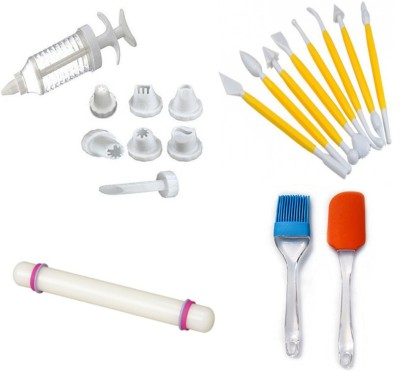 THW Bakeware Combo including Decorating Syringe with 8 Nozzles , Fondant Rolling Pin , 8 Modelling Tools , Pastry Brush and a spatula Multicolor Kitchen Tool Set