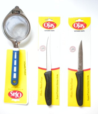 Ojas Strainer and Knives Stainless Steel Kitchen Tool Set