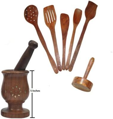 THW Daily Essential Wooden Kitchen Tool Set Including Large Mortar & Pestle Set (Khalbatta),Masher & 5 Pc. Multipurpose Sheesham Wood Spoon Set Beige Kitchen Tool Set