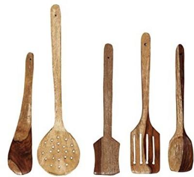 THW 5 Piece Multipurpose Cooking Spoon Beige Kitchen Tool Set