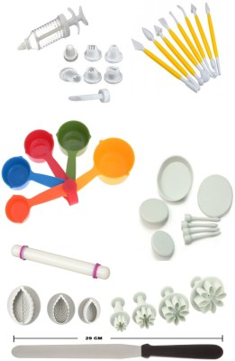 THW Bakeware Combo including Decorating Syringe with 8 Nozzles , Fondant Rolling Pin , 8 Modelling Tools , 29 cm Icing Spatula , 4 Flower Nails , 5 Multicolor Measuring Cups , 3 Daisy Plunger Cutters & 3 Rose Leaf Plunger Cutters Multicolor Kitchen Tool Set