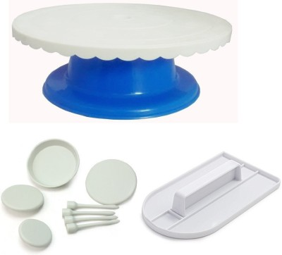 THW Bakeware Combo including Blue Rotating Cake Decorating Table , Fondant Smoother , 4 Flower Nails Multicolor Kitchen Tool Set