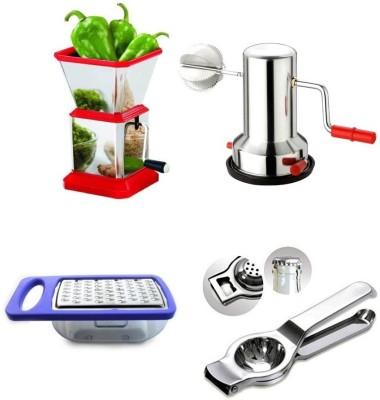 Medex Combo Vegetable Chopper, Coconut Grater, Cheese Grater & Lemon Squeezer Multi Color Kitchen Tool Set