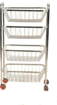 Anmol Square Stainless Steel Kitchen Trolley