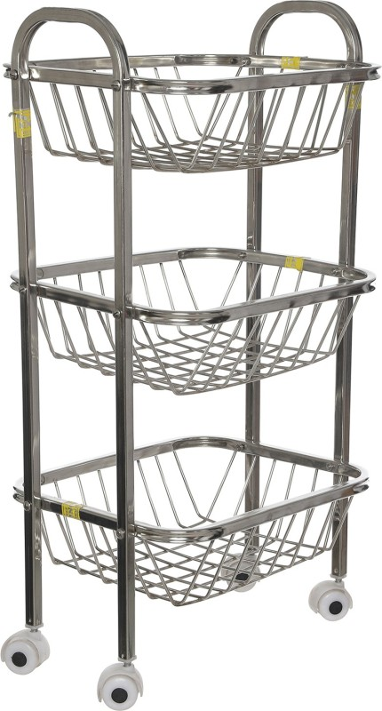 SHREE SINGHAL Three shelves Stainless Steel Kitchen Trolley