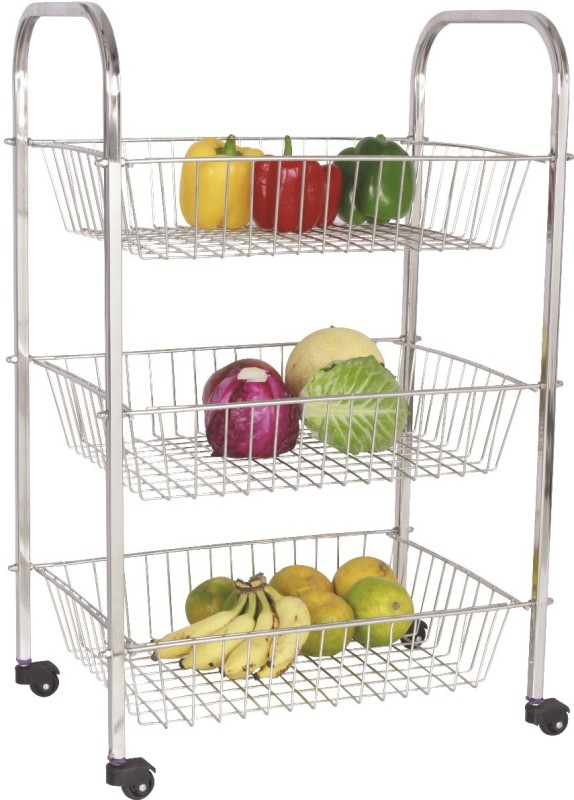 Amol Jumbo Trolley 3 Baskets Stainless Steel Kitchen Trolley