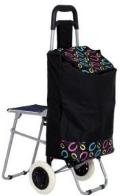 Abeez Vegetable Shopping Folding Storage Trolley with Chair Iron Kitchen Trolley