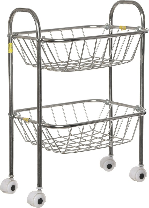 SHREE SINGHAL Two shelves Stainless Steel Kitchen Trolley