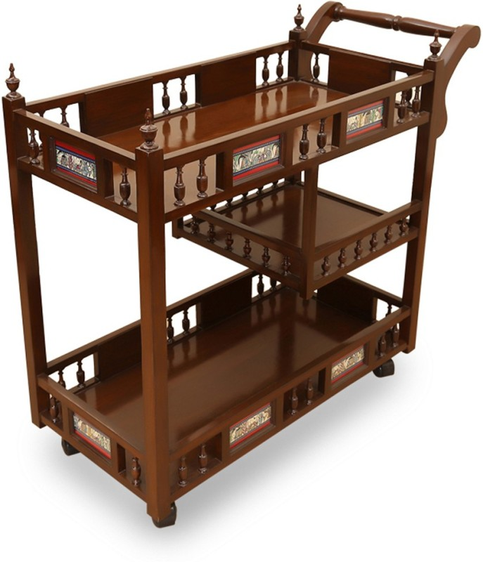 ExclusiveLane Teak Wood Wooden Kitchen Trolley