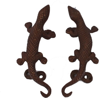 Home Sparkle Lizard Brass Door Knob(Gold Pack of 2)