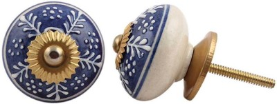 IndianShelf Knobs Ceramic Cabinet/Draw Knob(Blue, Beige, White Pack of 2)