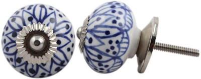 IndianShelf Knobs Ceramic Cabinet/Draw Knob(Blue, White Pack of 2)