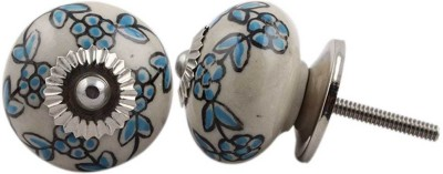IndianShelf Knobs Ceramic Cabinet/Draw Knob(Blue, Black Pack of 2)