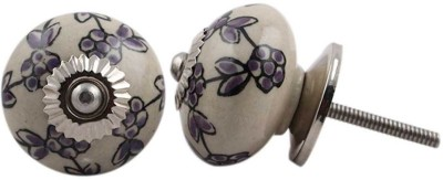 IndianShelf Knobs Ceramic Cabinet/Draw Knob(Purple, Black Pack of 2)