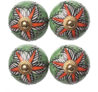 Clay Art Round Floral Hand painted Ceramic Cabinet/Draw Knob