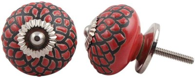 IndianShelf Knobs Ceramic Cabinet/Draw Knob(Red, Black Pack of 2)