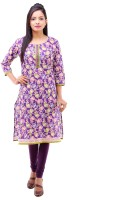 Kyaara Printed Women's Straight Kurta(Purple)