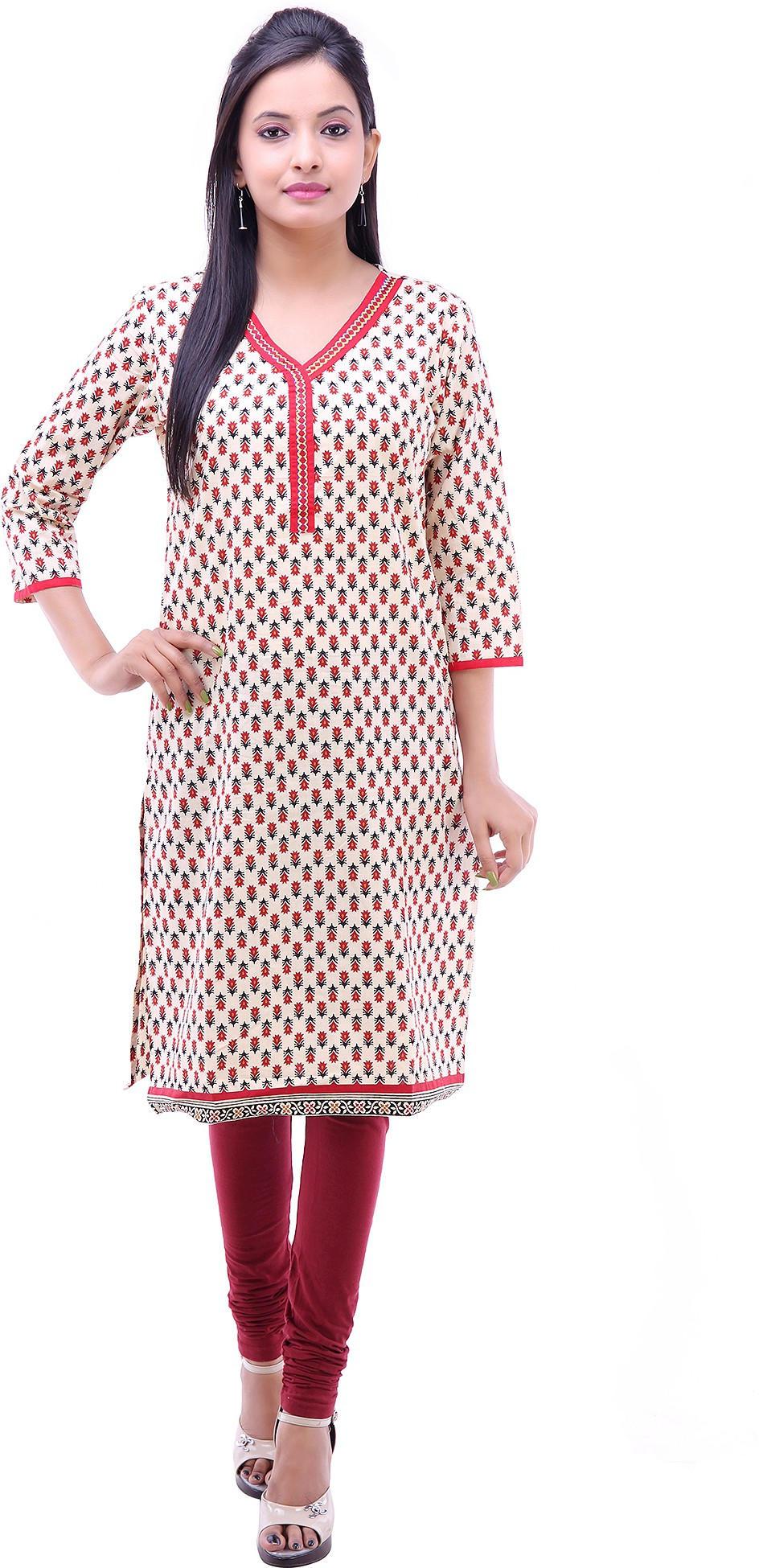 Kyaara Floral Print Womens Straight Kurta(Red, White)