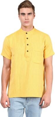 Abhiyuthan Striped Mens Straight Kurta(Yellow)