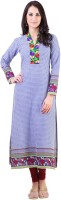Libas Geometric Print Women's Straight Kurta(Blue)