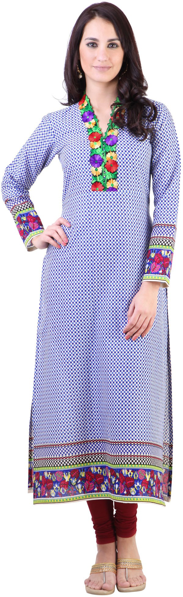 Libas Geometric Print Womens Straight Kurta(Blue)