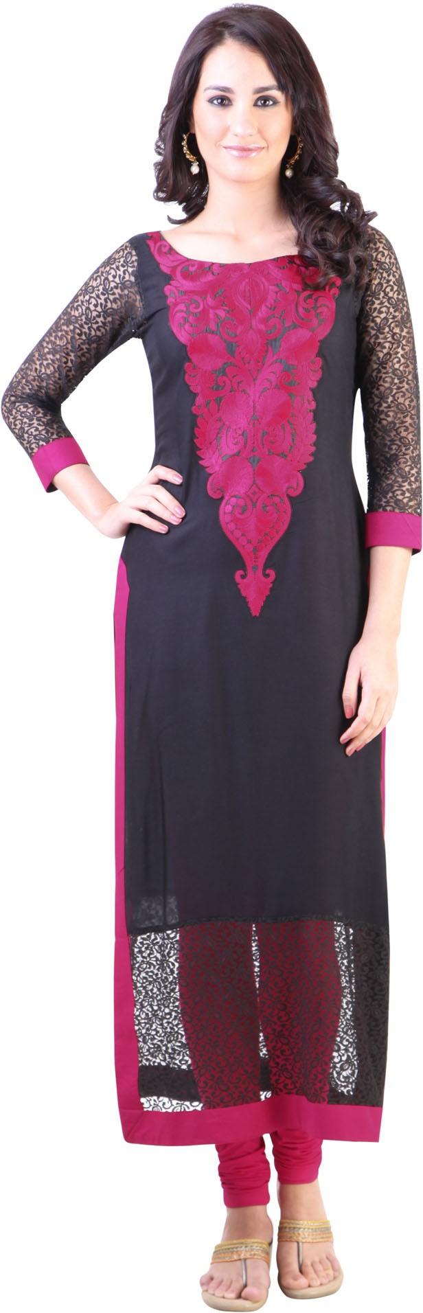 Libas Self Design Womens Straight Kurta(Black, Pink)