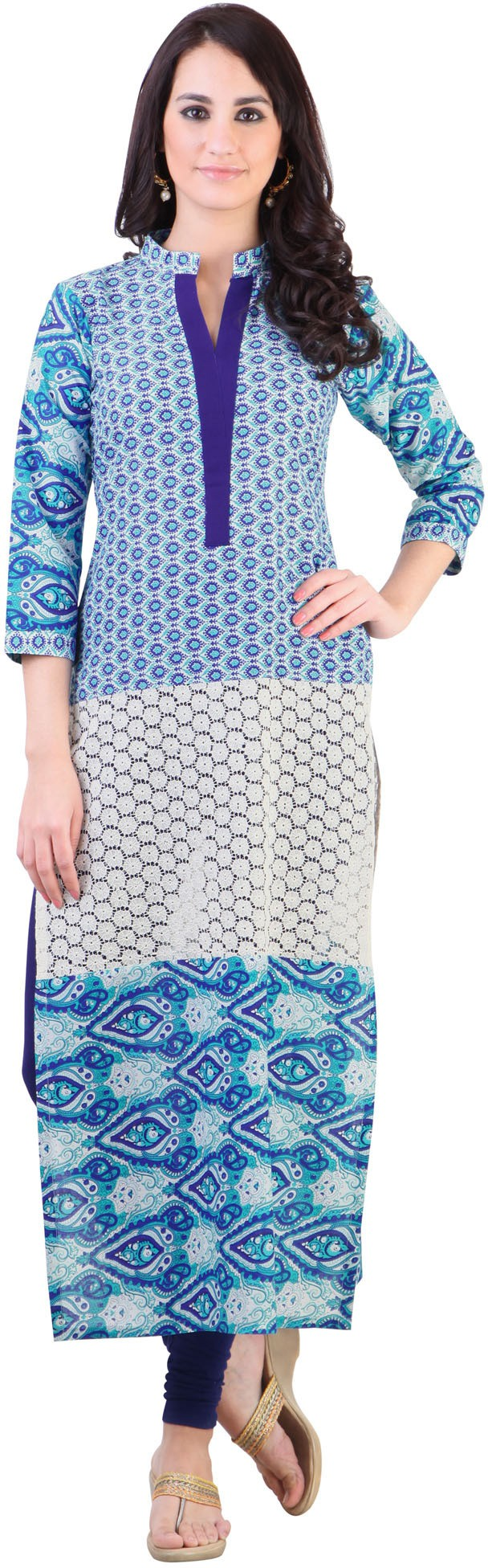 Libas Printed Womens Straight Kurta(Blue)