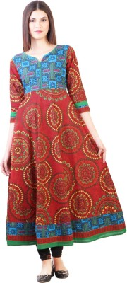 Libas Printed Women's Anarkali Kurta(Red) at flipkart