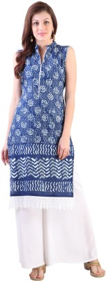 Libas Printed Women's Straight Kurta(Blue, White) at flipkart