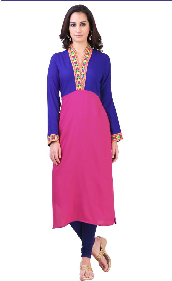 Libas Self Design Womens Straight Kurta(Blue, Pink)