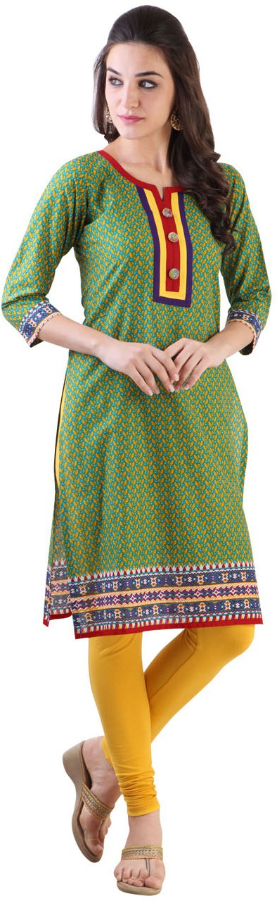 Libas Printed Womens Straight Kurta(Green)