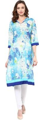 Darzaania Floral Print Women Flared Kurta(Light Blue)