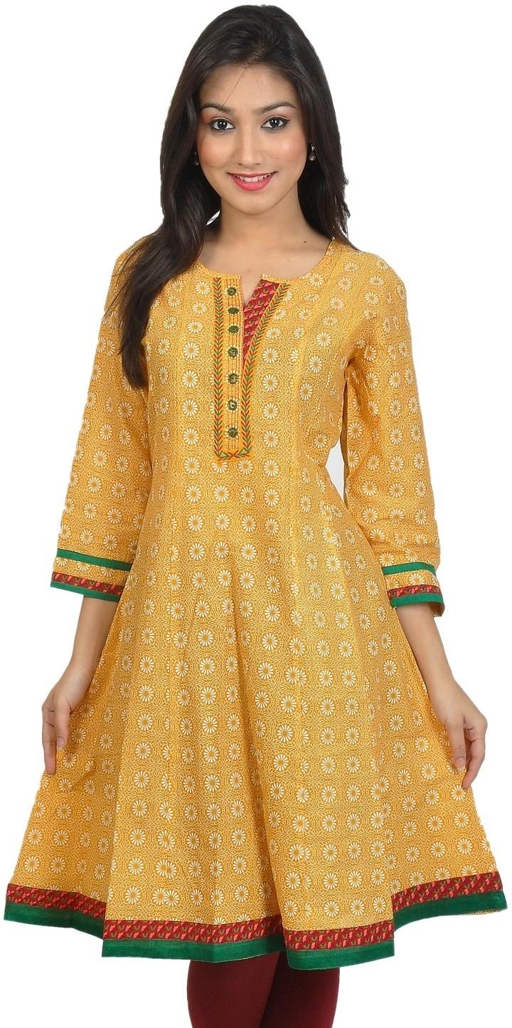 Sanchey Geometric Print Womens Anarkali Kurta(Yellow)