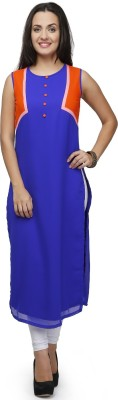 Ojjasvi Solid Women's Straight Kurta(Blue) at flipkart