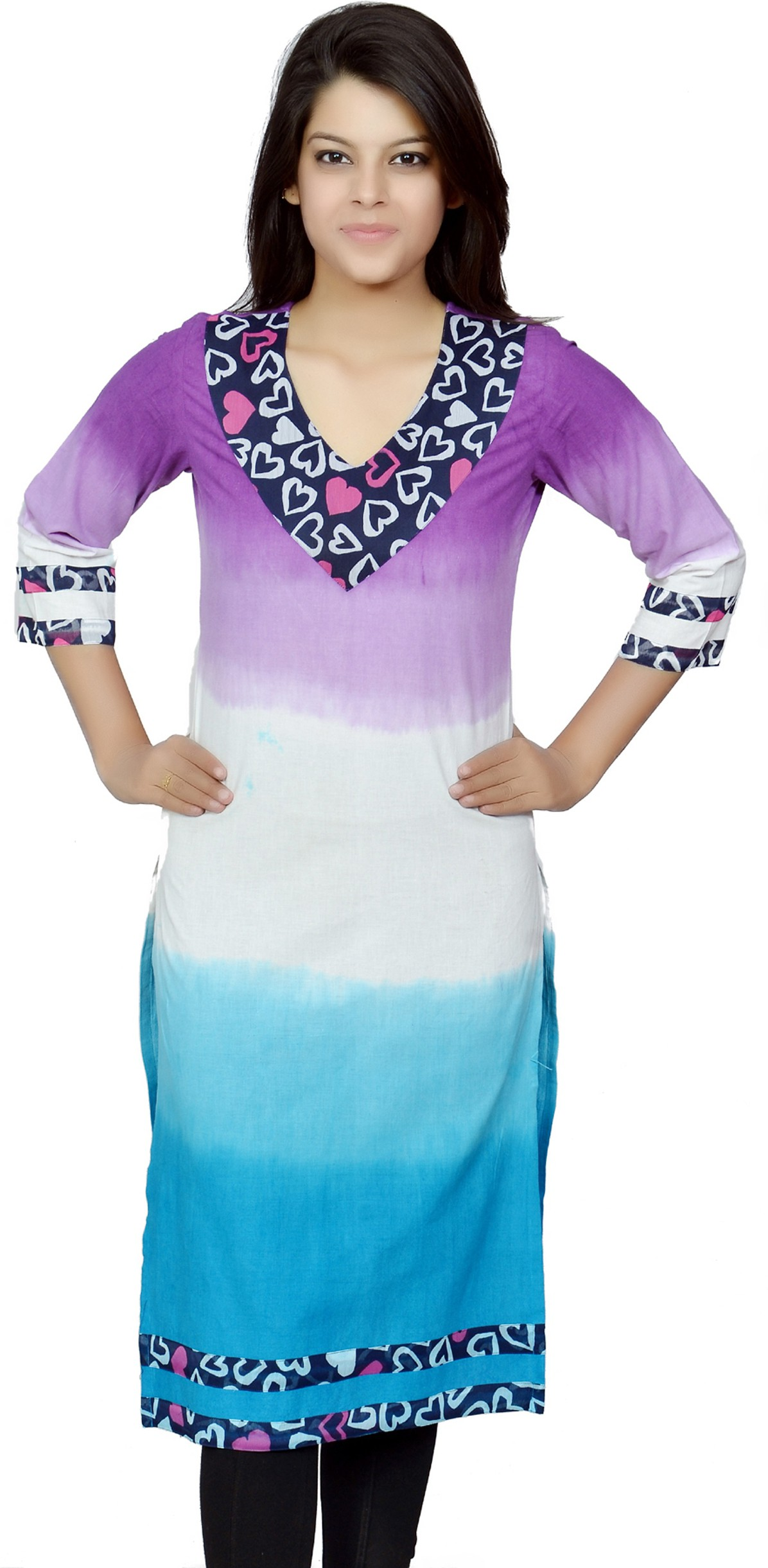 Chitrambara Printed Womens Straight Kurta(Purple)