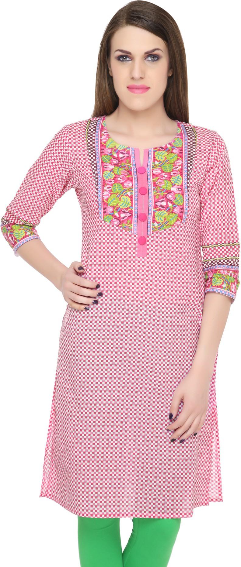 Naksh Jaipur Printed Womens Straight Kurta(Pink)