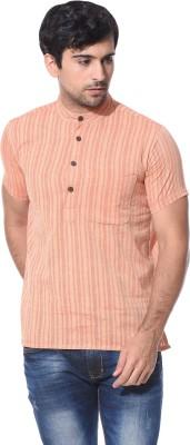 Abhiyuthan Striped Mens Straight Kurta(Pink)