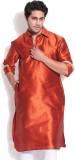 Vivyaan Solid Men's Pathani Kurta (Brown...