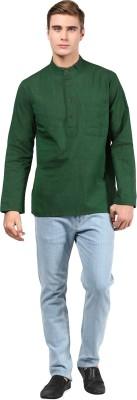 Abhiyuthan Solid Mens Straight Kurta(Green)