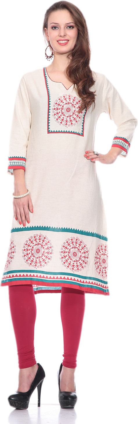 Sringam Printed Womens Straight Kurta(Beige)