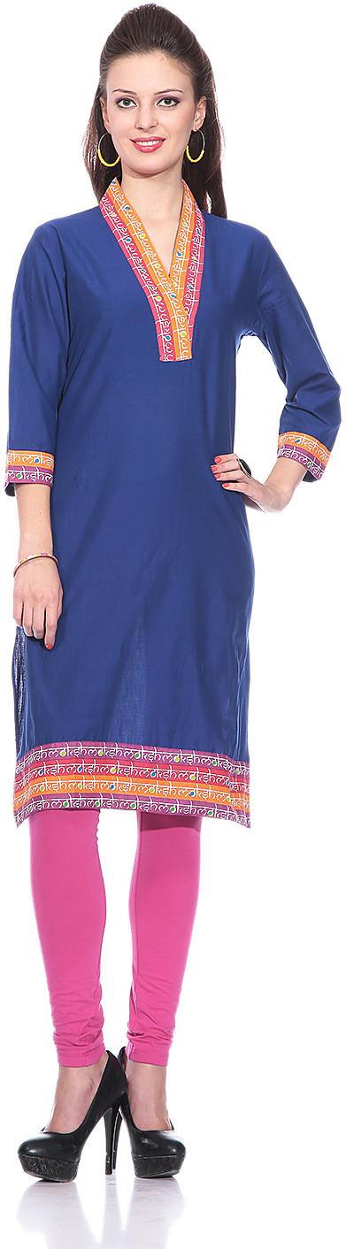 Sringam Solid Womens Straight Kurta(Blue)
