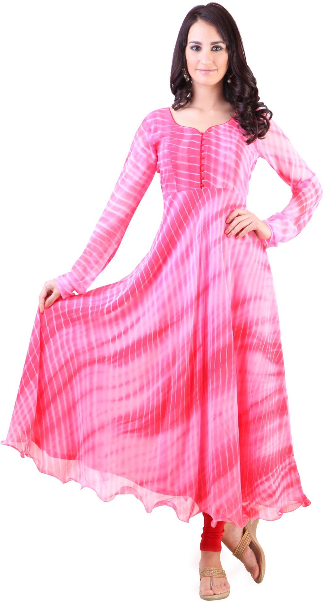 Libas Printed Womens Anarkali Kurta(Pink)