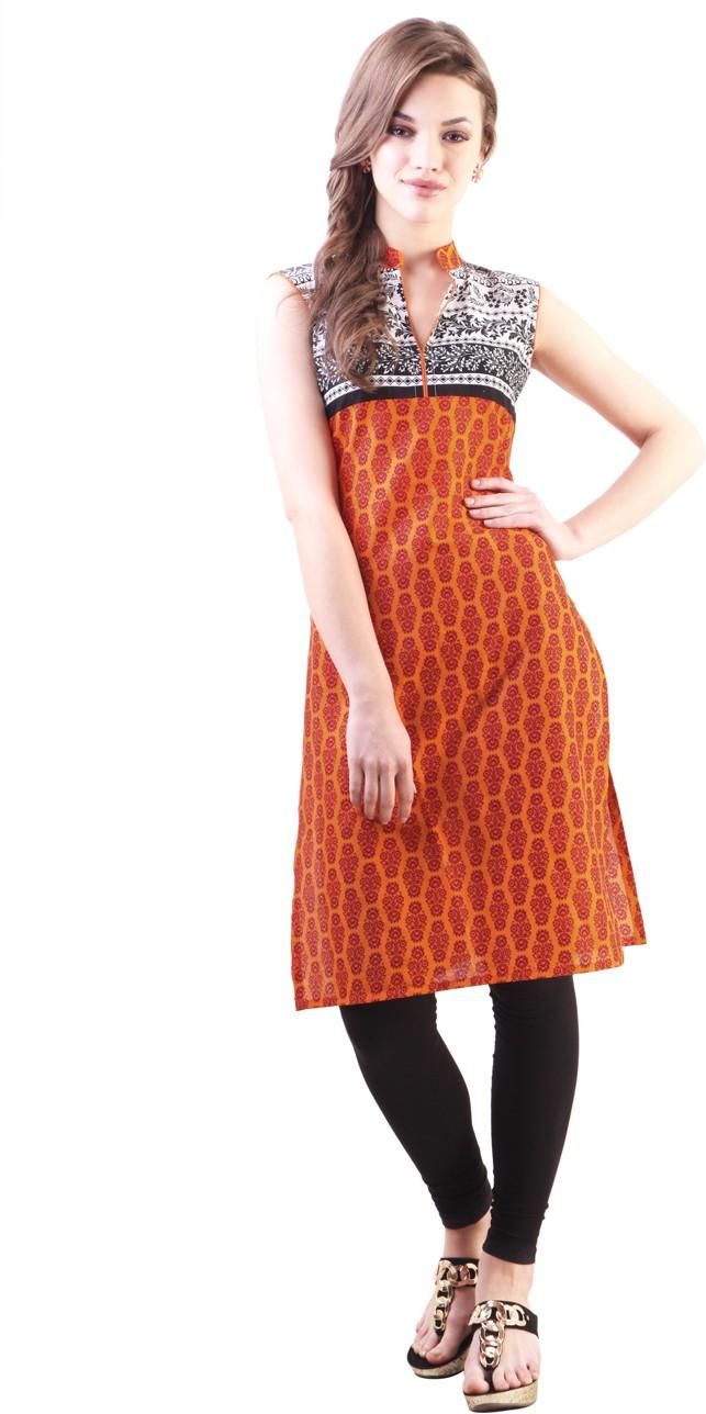 Libas Printed Women's Straight Kurta(Orange)